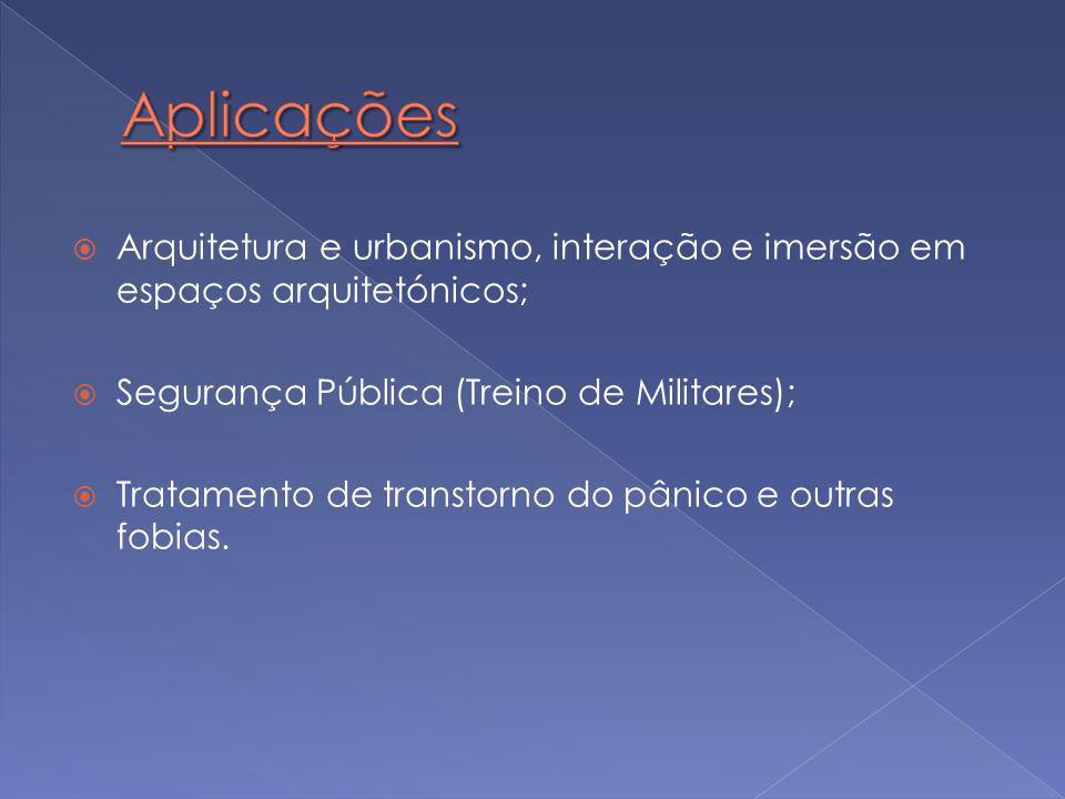  Arquitetura e urbanismo, interação e imersão em espaços arquitetónicos;  Segurança Pública (Treino de Militares);  Tratamento de transtorno do pân
