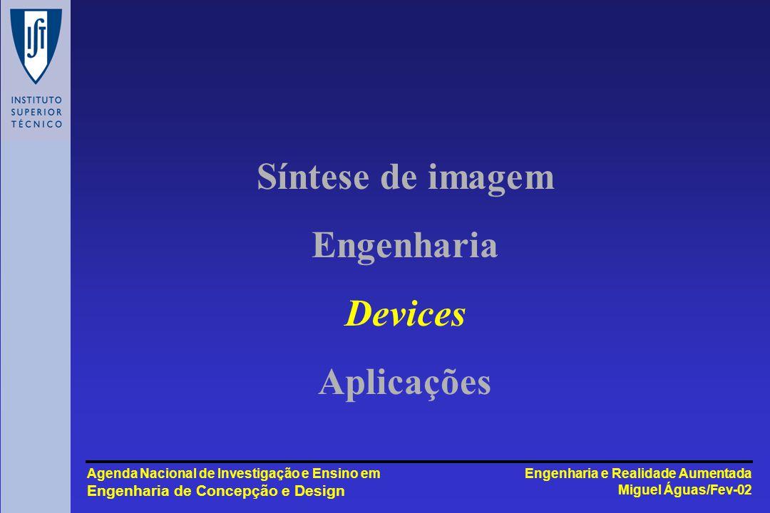 Engenharia e Realidade Aumentada Miguel Águas/Fev-02 Agenda Nacional de Investigação e Ensino em Engenharia de Concepção e Design Síntese de imagem Engenharia Devices Aplicações