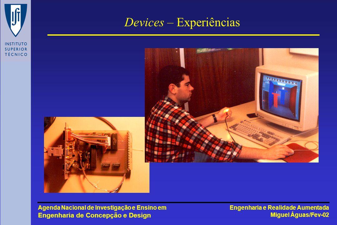 Engenharia e Realidade Aumentada Miguel Águas/Fev-02 Agenda Nacional de Investigação e Ensino em Engenharia de Concepção e Design Devices – Experiências