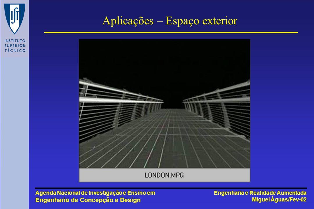 Engenharia e Realidade Aumentada Miguel Águas/Fev-02 Agenda Nacional de Investigação e Ensino em Engenharia de Concepção e Design Aplicações – Espaço exterior