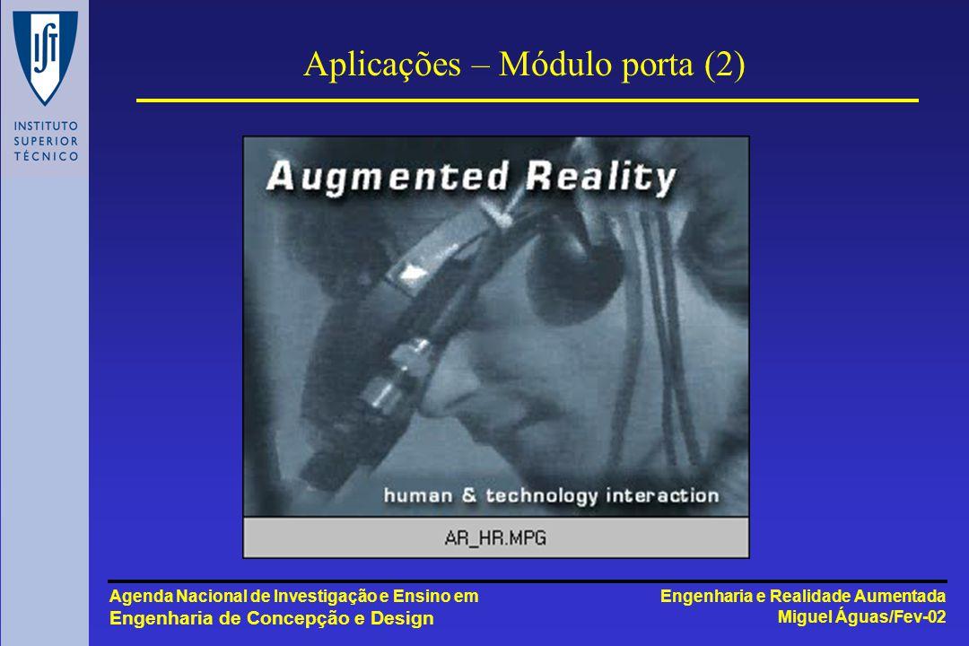 Engenharia e Realidade Aumentada Miguel Águas/Fev-02 Agenda Nacional de Investigação e Ensino em Engenharia de Concepção e Design Aplicações – Módulo porta (2)
