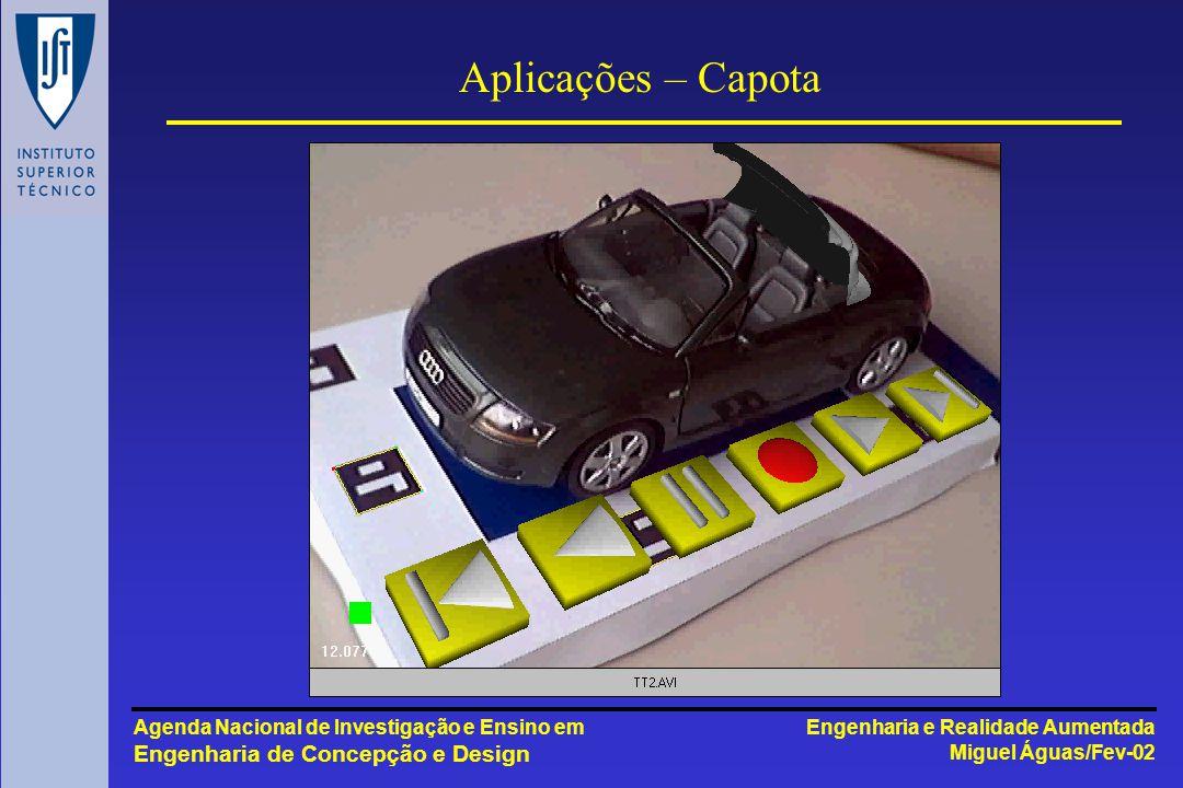 Engenharia e Realidade Aumentada Miguel Águas/Fev-02 Agenda Nacional de Investigação e Ensino em Engenharia de Concepção e Design Aplicações – Capota