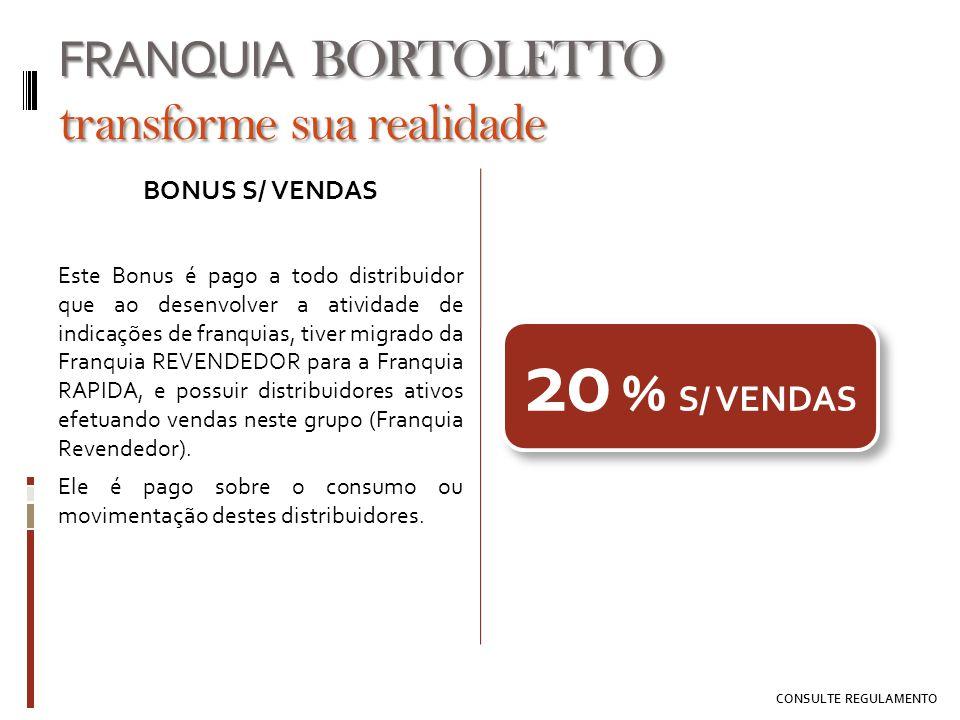 BONUS S/ VENDAS Este Bonus é pago a todo distribuidor que ao desenvolver a atividade de indicações de franquias, tiver migrado da Franquia REVENDEDOR