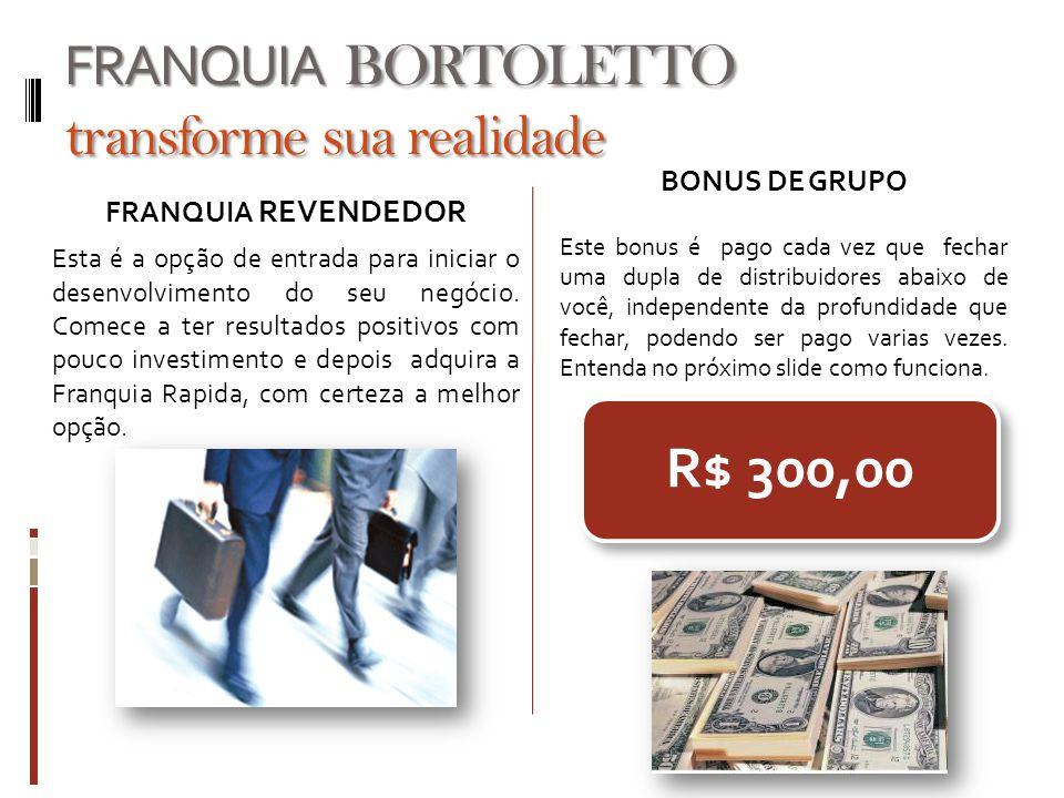 FRANQUIA BORTOLETTO transforme sua realidade FRANQUIA REVENDEDOR Esta é a opção de entrada para iniciar o desenvolvimento do seu negócio. Comece a ter