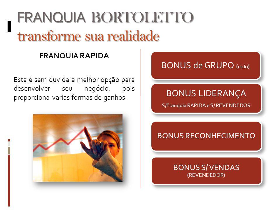 BONUS de GRUPO (ciclo) BONUS LIDERANÇA S/Franquia RAPIDA e S/ REVENDEDOR BONUS RECONHECIMENTO BONUS S/ VENDAS (REVENDEDOR) FRANQUIA BORTOLETTO transfo