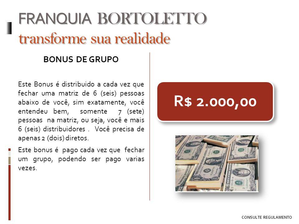 R$ 2.000,00 BONUS DE GRUPO Este Bonus é distribuido a cada vez que fechar uma matriz de 6 (seis) pessoas abaixo de você, sim exatamente, você entendeu