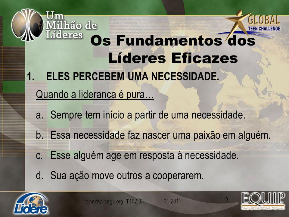 Os Fundamentos dos Líderes Eficazes 1.ELES PERCEBEM UMA NECESSIDADE.
