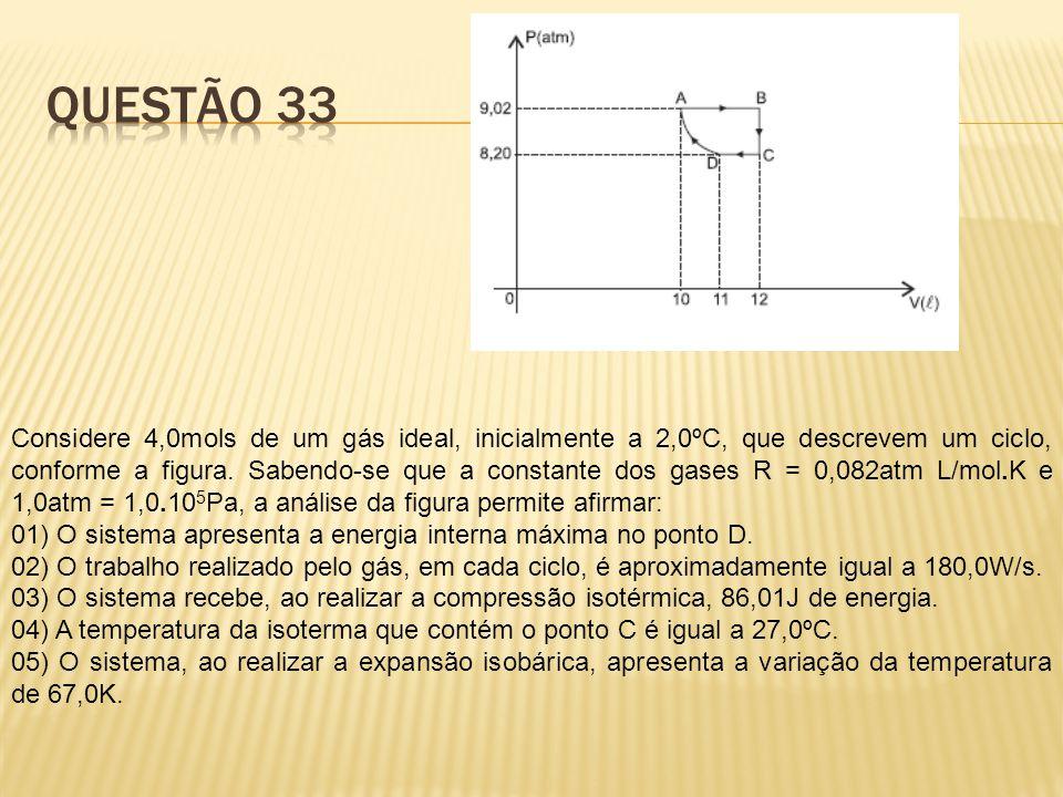 Considere 4,0mols de um gás ideal, inicialmente a 2,0ºC, que descrevem um ciclo, conforme a figura. Sabendo-se que a constante dos gases R = 0,082atm