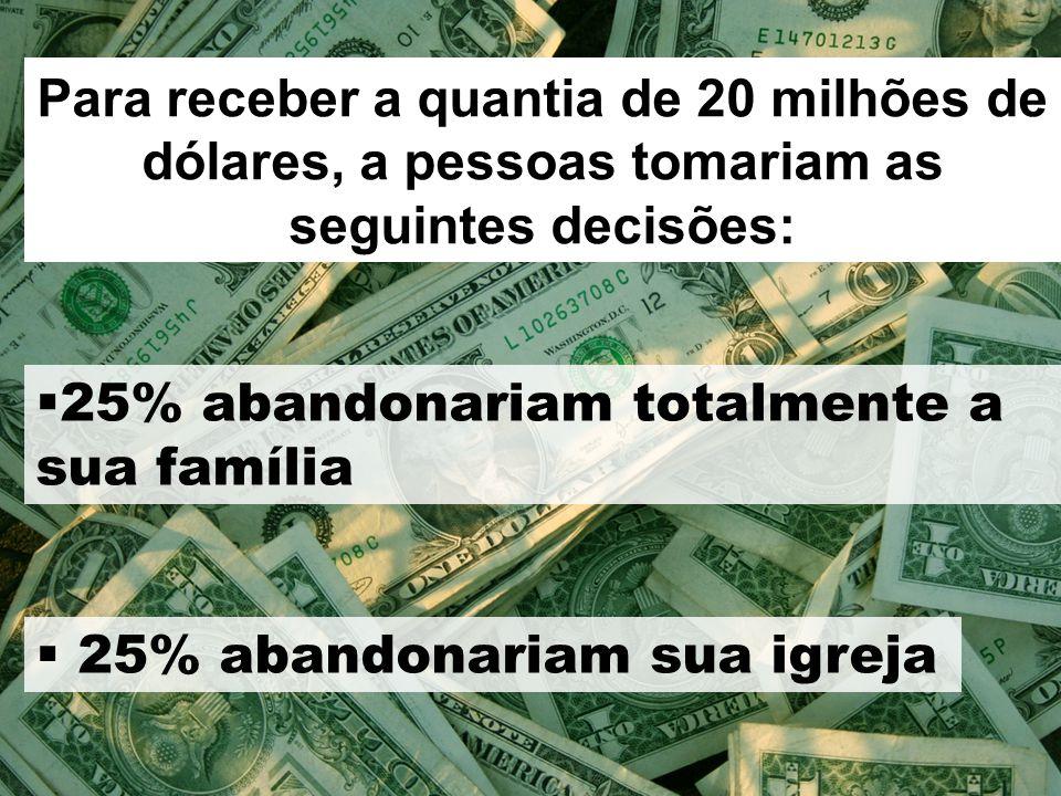 Para receber a quantia de 20 milhões de dólares, a pessoas tomariam as seguintes decisões:  23% iriam tornar-se uma(um) prostituta(o) por uma semana ou até por um ano  16% abandonariam totalmente a sua nacionalidade