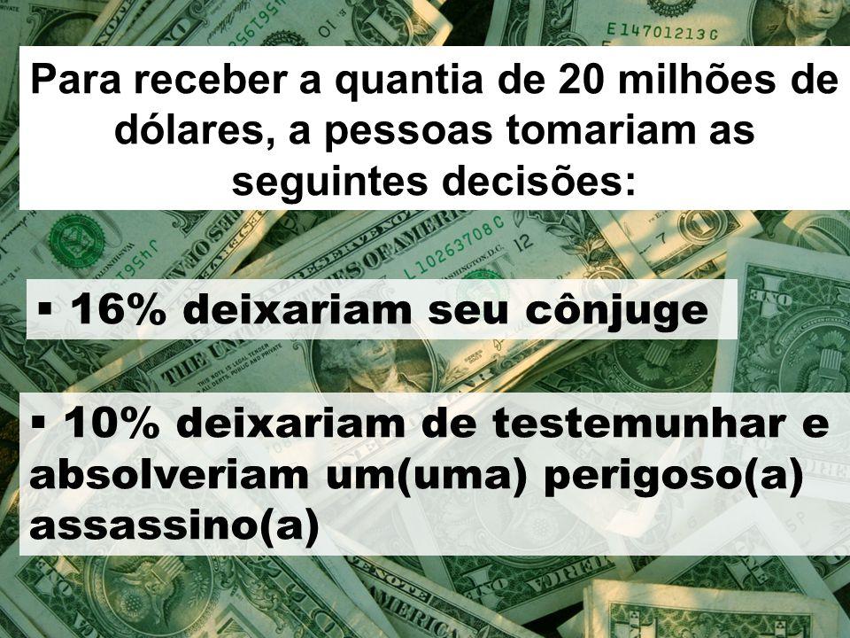 Para receber a quantia de 20 milhões de dólares, a pessoas tomariam as seguintes decisões:  16% deixariam seu cônjuge  10% deixariam de testemunhar e absolveriam um(uma) perigoso(a) assassino(a)