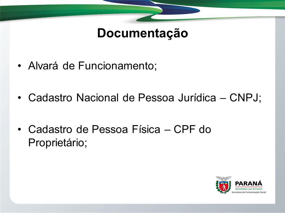 Documentação Alvará de Funcionamento; Cadastro Nacional de Pessoa Jurídica – CNPJ; Cadastro de Pessoa Física – CPF do Proprietário;