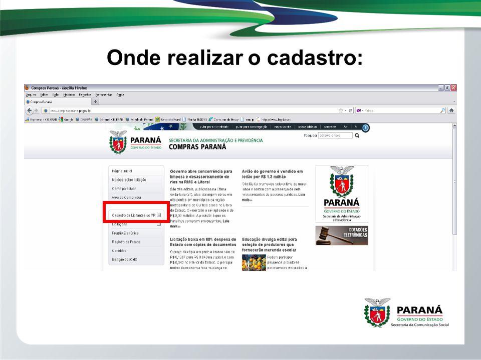 Após clicar no Cadastro de Licitantes do PR, Localizar o item Cadastro Inicial do Fornecedor (clic).