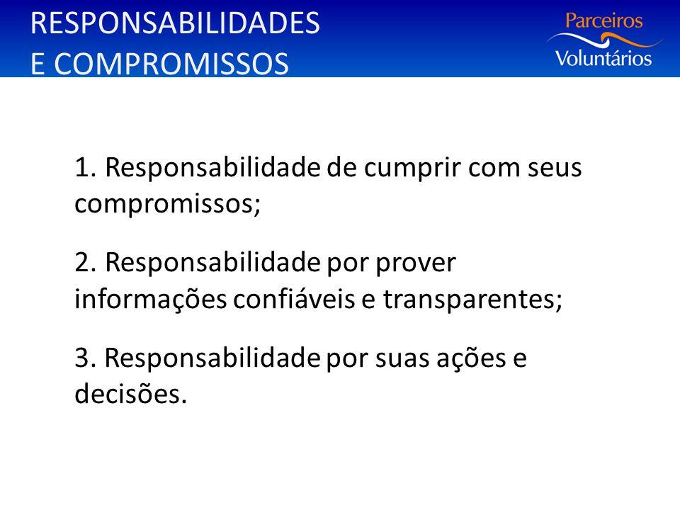 RESPONSABILIDADES E COMPROMISSOS 1. Responsabilidade de cumprir com seus compromissos; 2. Responsabilidade por prover informações confiáveis e transpa