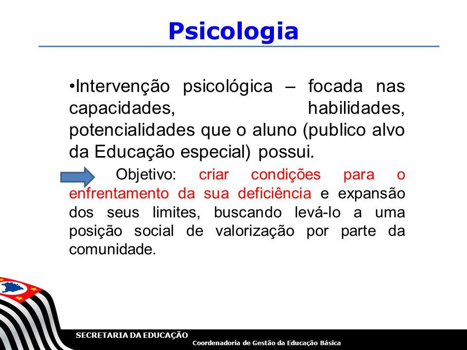 SECRETARIA DA EDUCAÇÃO Coordenadoria de Gestão da Educação Básica Psicologia Intervenção psicológica – focada nas capacidades, habilidades, potenciali