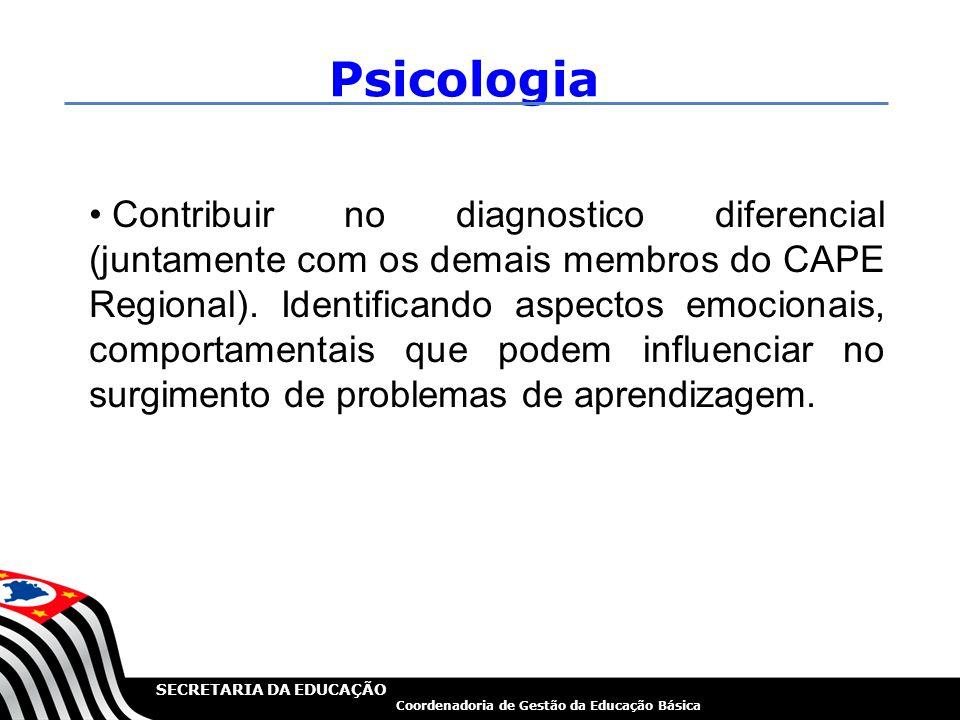 SECRETARIA DA EDUCAÇÃO Coordenadoria de Gestão da Educação Básica Psicologia Contribuir no diagnostico diferencial (juntamente com os demais membros d