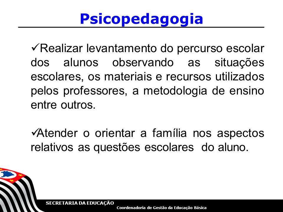 SECRETARIA DA EDUCAÇÃO Coordenadoria de Gestão da Educação Básica Psicopedagogia Realizar levantamento do percurso escolar dos alunos observando as si