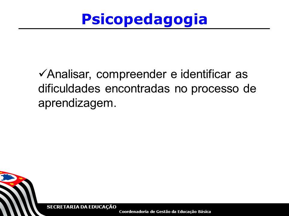 SECRETARIA DA EDUCAÇÃO Coordenadoria de Gestão da Educação Básica Psicopedagogia Analisar, compreender e identificar as dificuldades encontradas no pr