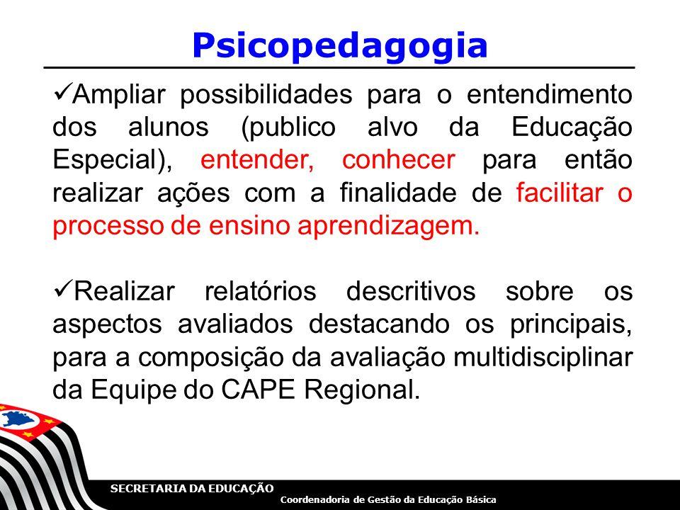 SECRETARIA DA EDUCAÇÃO Coordenadoria de Gestão da Educação Básica Psicopedagogia Ampliar possibilidades para o entendimento dos alunos (publico alvo d