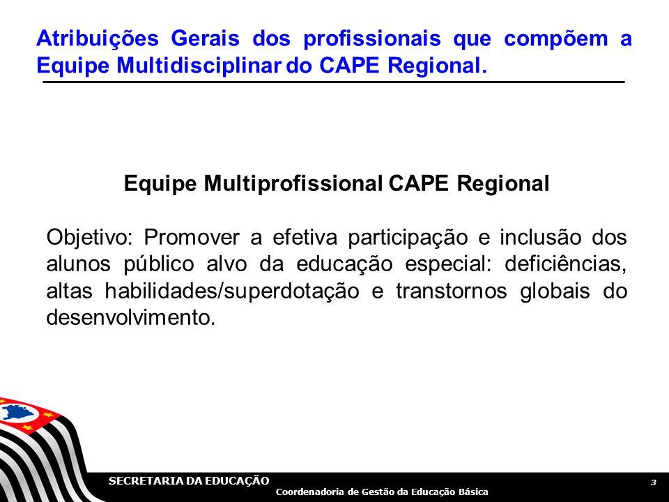 SECRETARIA DA EDUCAÇÃO Coordenadoria de Gestão da Educação Básica 3 Equipe Multiprofissional CAPE Regional Objetivo: Promover a efetiva participação e