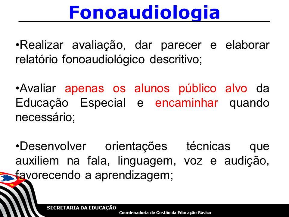 SECRETARIA DA EDUCAÇÃO Coordenadoria de Gestão da Educação Básica Fonoaudiologia Realizar avaliação, dar parecer e elaborar relatório fonoaudiológico