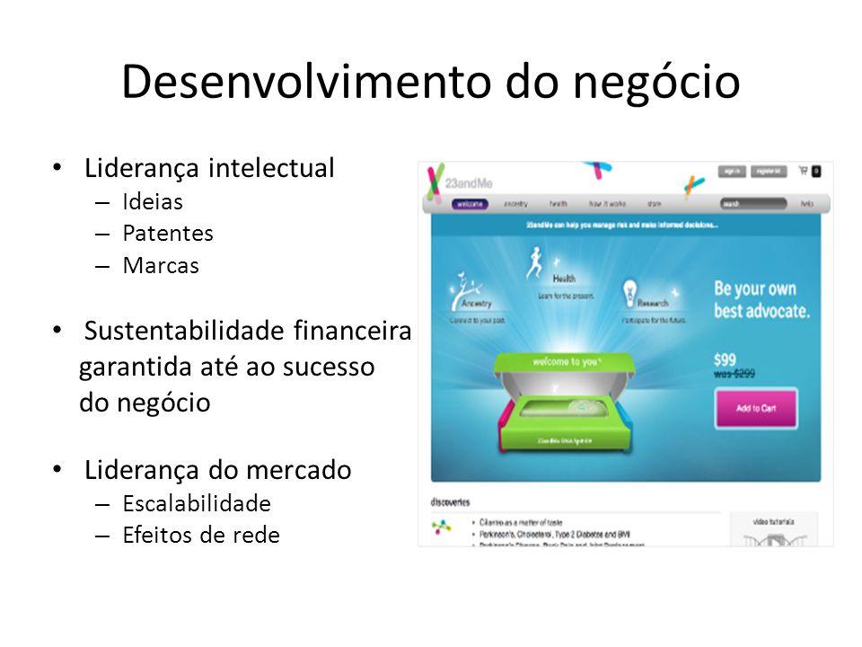Desenvolvimento do negócio Liderança intelectual – Ideias – Patentes – Marcas Sustentabilidade financeira garantida até ao sucesso do negócio Liderança do mercado – Escalabilidade – Efeitos de rede