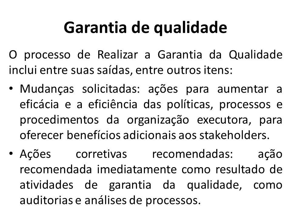 Garantia de qualidade O processo de Realizar a Garantia da Qualidade inclui entre suas saídas, entre outros itens: Mudanças solicitadas: ações para au