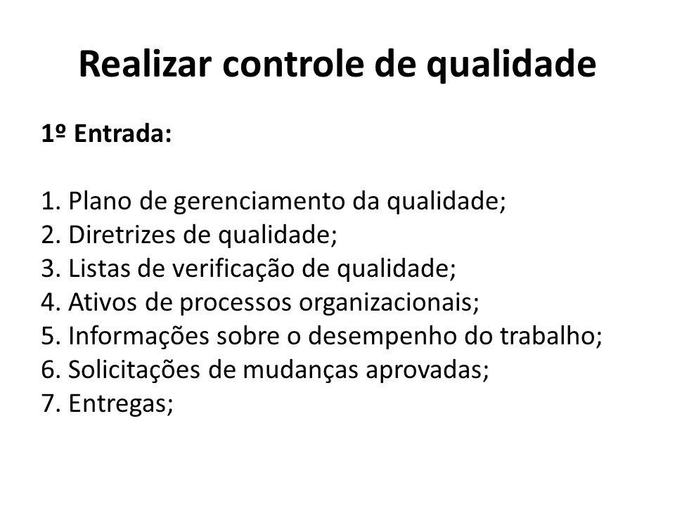 Realizar controle de qualidade 1º Entrada: 1. Plano de gerenciamento da qualidade; 2. Diretrizes de qualidade; 3. Listas de verificação de qualidade;