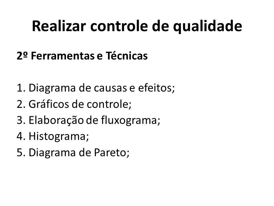 Realizar controle de qualidade 2º Ferramentas e Técnicas 1. Diagrama de causas e efeitos; 2. Gráficos de controle; 3. Elaboração de fluxograma; 4. His