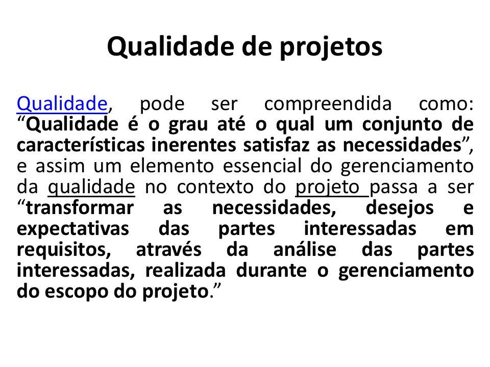 """Qualidade de projetos QualidadeQualidade, pode ser compreendida como: """"Qualidade é o grau até o qual um conjunto de características inerentes satisfaz"""