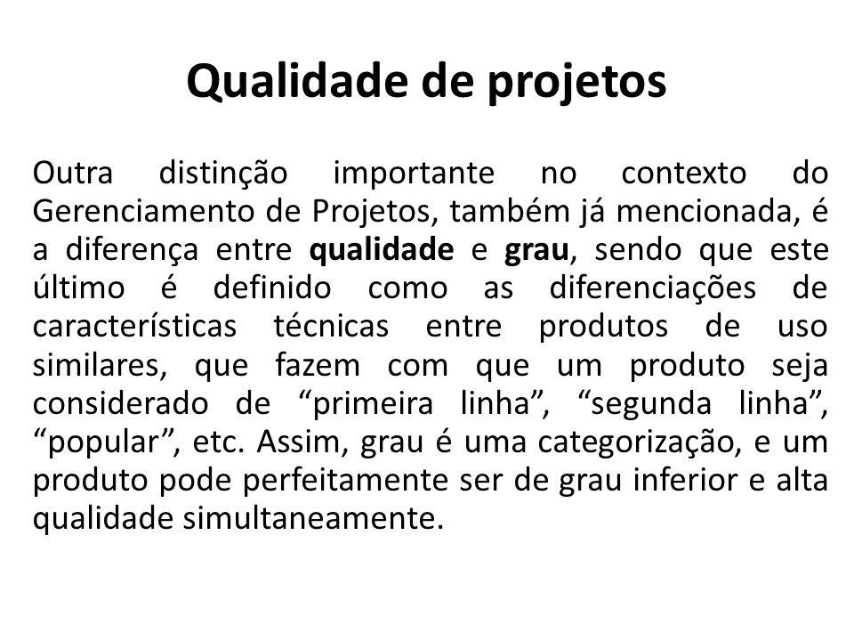 Qualidade de projetos Outra distinção importante no contexto do Gerenciamento de Projetos, também já mencionada, é a diferença entre qualidade e grau,