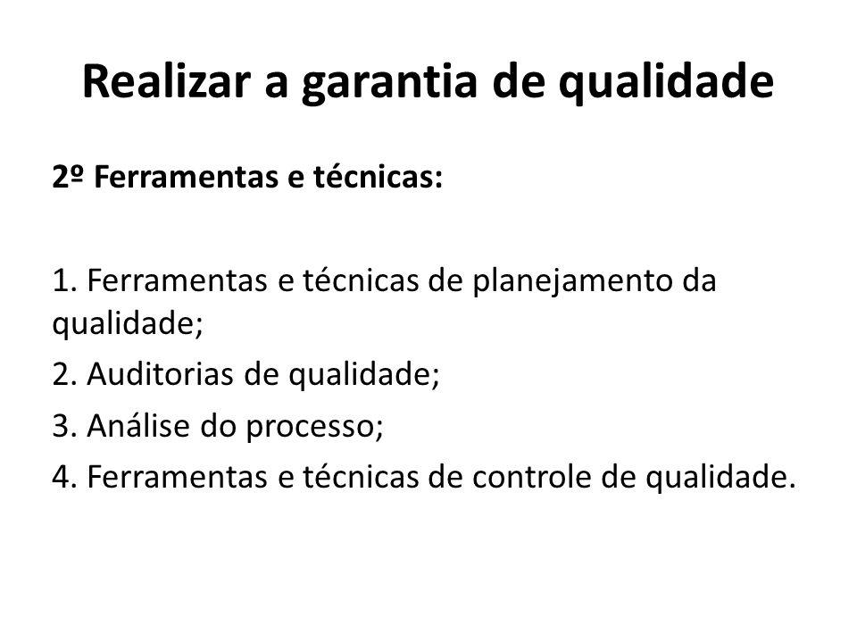 Realizar a garantia de qualidade 2º Ferramentas e técnicas: 1. Ferramentas e técnicas de planejamento da qualidade; 2. Auditorias de qualidade; 3. Aná