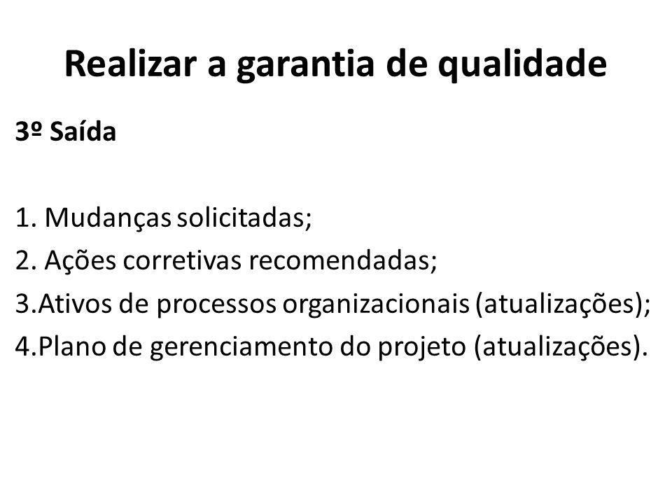 Realizar a garantia de qualidade 3º Saída 1. Mudanças solicitadas; 2. Ações corretivas recomendadas; 3.Ativos de processos organizacionais (atualizaçõ
