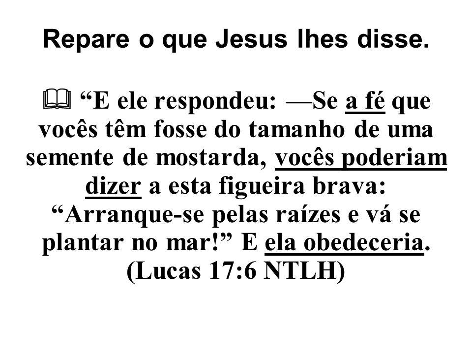 """Repare o que Jesus lhes disse.  """"E ele respondeu: —Se a fé que vocês têm fosse do tamanho de uma semente de mostarda, vocês poderiam dizer a esta fig"""