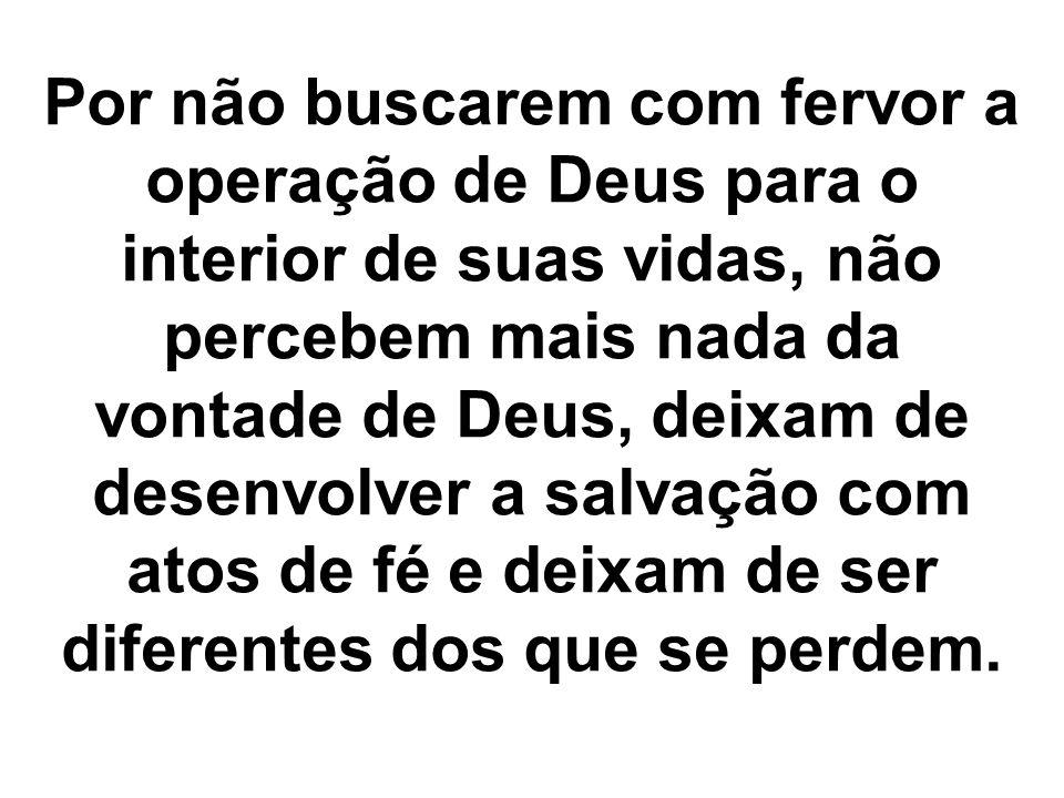 Por não buscarem com fervor a operação de Deus para o interior de suas vidas, não percebem mais nada da vontade de Deus, deixam de desenvolver a salva