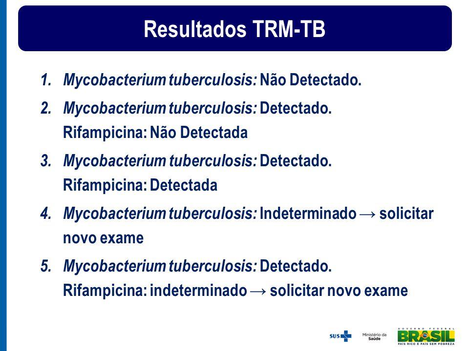 1.Mycobacterium tuberculosis: Não Detectado. 2.Mycobacterium tuberculosis: Detectado. Rifampicina: Não Detectada 3. Mycobacterium tuberculosis: Detect