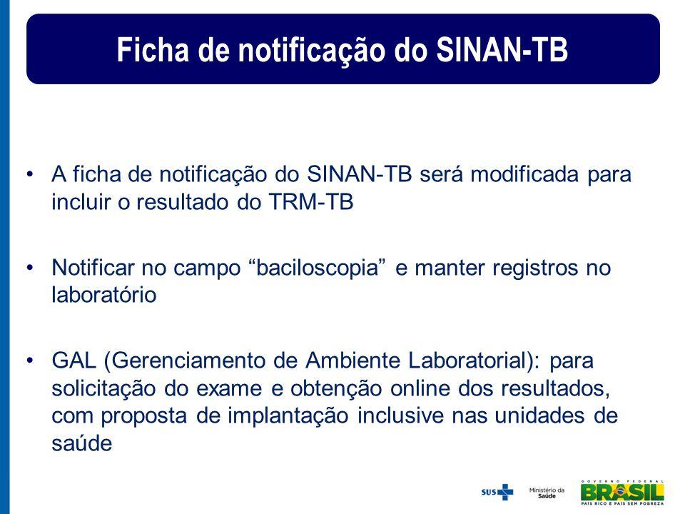 """A ficha de notificação do SINAN-TB será modificada para incluir o resultado do TRM-TB Notificar no campo """"baciloscopia"""" e manter registros no laborató"""