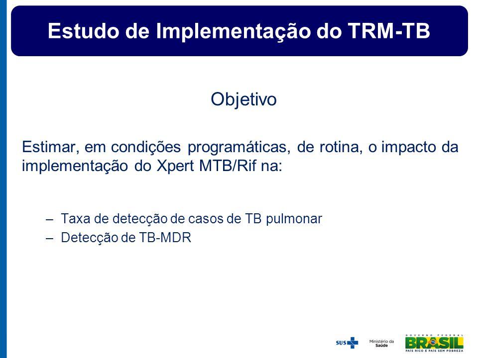 Custo-efetividade do TMR-TB Estudo de Implementação do TRM-TB Objetivo Estimar, em condições programáticas, de rotina, o impacto da implementação do X
