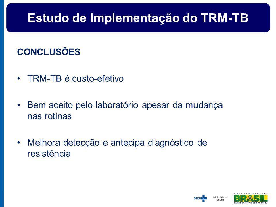 CONCLUSÕES TRM-TB é custo-efetivo Bem aceito pelo laboratório apesar da mudança nas rotinas Melhora detecção e antecipa diagnóstico de resistência Est