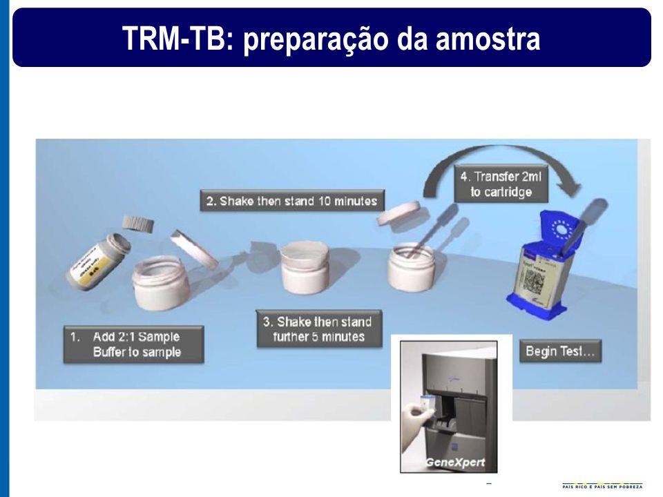 Investigação de TB em retratamentos (recidiva ou retorno após abandono) Sintomático Respiratório Realizar TRM +baciloscopia + Cultura + TSA MTB detectado por TRM e Baciloscopia positiva Paciente com TB Resistência a Rifampicina Detectada Iniciar EB e encaminhar para Referência Terciária.