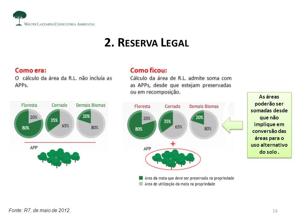 2. R ESERVA L EGAL As áreas poderão ser somadas desde que não implique em conversão das áreas para o uso alternativo do solo. Como era: O cálculo da á