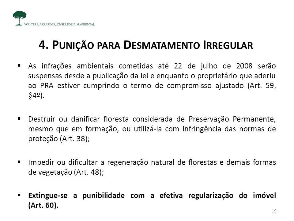 4. P UNIÇÃO PARA D ESMATAMENTO I RREGULAR  As infrações ambientais cometidas até 22 de julho de 2008 serão suspensas desde a publicação da lei e enqu