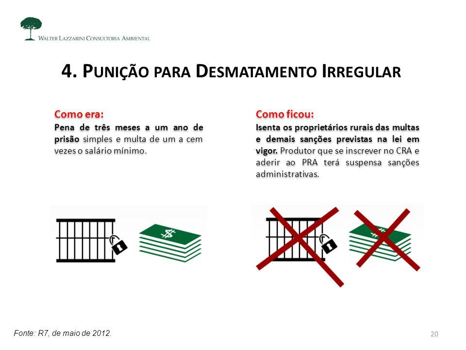 4. P UNIÇÃO PARA D ESMATAMENTO I RREGULAR Fonte: R7, de maio de 2012. Como ficou: Isenta os proprietários rurais das multas e demais sanções previstas