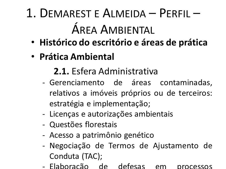 1. D EMAREST E A LMEIDA – P ERFIL – Á REA A MBIENTAL Histórico do escritório e áreas de prática Prática Ambiental 2.1. Esfera Administrativa -Gerencia