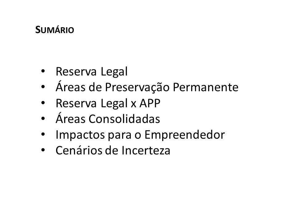 Reserva Legal Áreas de Preservação Permanente Reserva Legal x APP Áreas Consolidadas Impactos para o Empreendedor Cenários de Incerteza S UMÁRIO