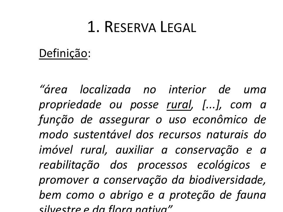 """1. R ESERVA L EGAL Definição: """"área localizada no interior de uma propriedade ou posse rural, [...], com a função de assegurar o uso econômico de modo"""