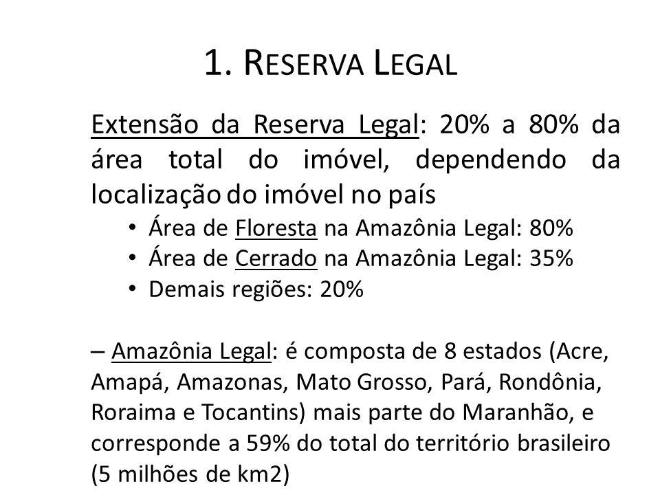1. R ESERVA L EGAL Extensão da Reserva Legal: 20% a 80% da área total do imóvel, dependendo da localização do imóvel no país Área de Floresta na Amazô