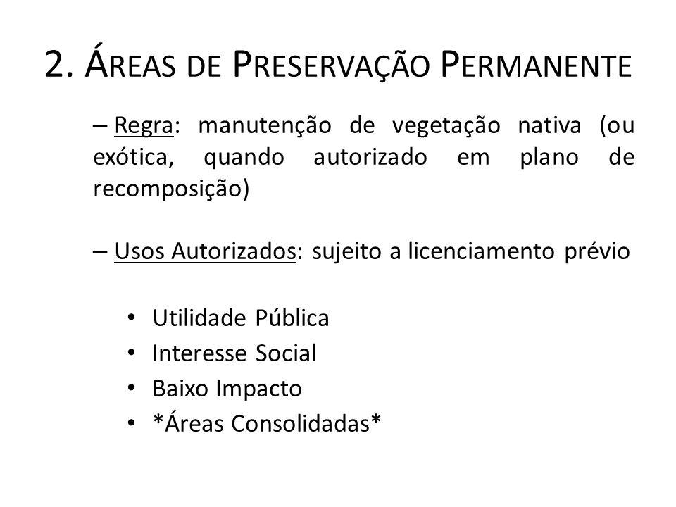 2. Á REAS DE P RESERVAÇÃO P ERMANENTE – Regra: manutenção de vegetação nativa (ou exótica, quando autorizado em plano de recomposição) – Usos Autoriza