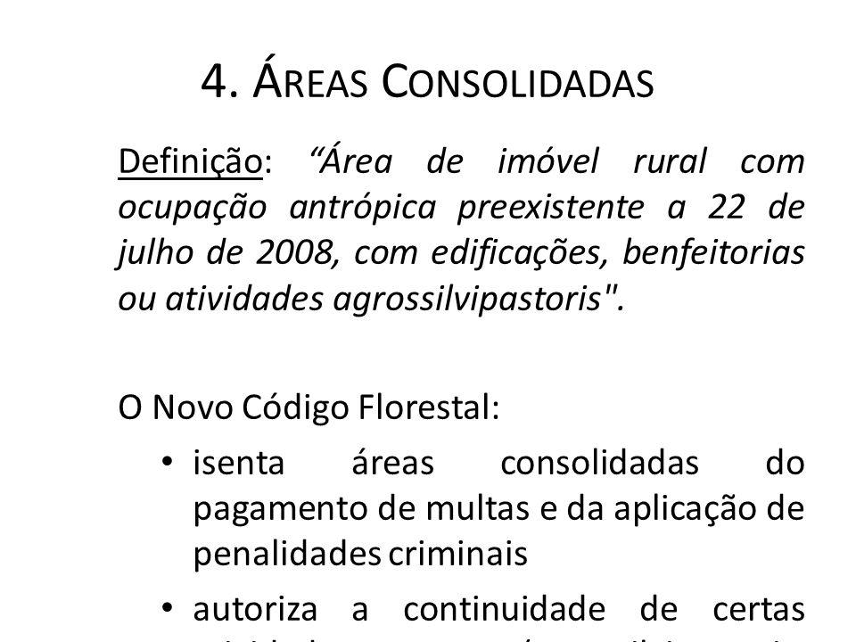 """4. Á REAS C ONSOLIDADAS Definição: """"Área de imóvel rural com ocupação antrópica preexistente a 22 de julho de 2008, com edificações, benfeitorias ou a"""