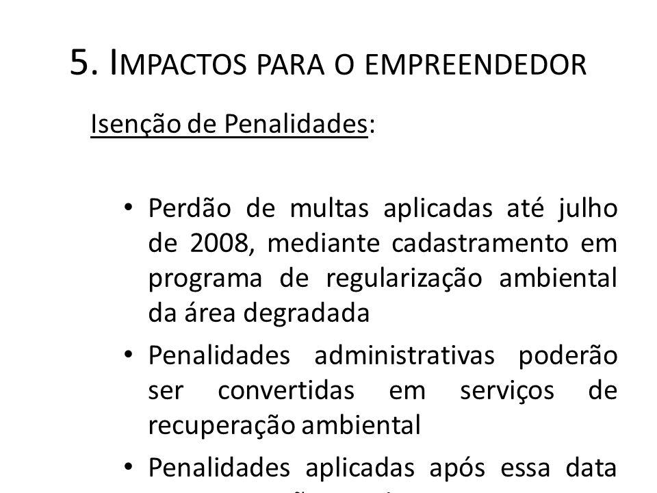 5. I MPACTOS PARA O EMPREENDEDOR Isenção de Penalidades: Perdão de multas aplicadas até julho de 2008, mediante cadastramento em programa de regulariz