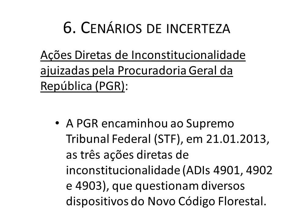 6. C ENÁRIOS DE INCERTEZA Ações Diretas de Inconstitucionalidade ajuizadas pela Procuradoria Geral da República (PGR): A PGR encaminhou ao Supremo Tri